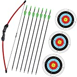 Wolf Archery 45' Youth Archery Bow and Arrow Set for Kids,Teens,Beginner Practice Outdoor Sports Game Toy Gift Recurve Bow Kit Set with 7 Arrows 18Lb (Red)