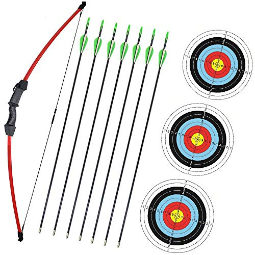 """Wolf Archery 45"""" Youth Archery Bow and Arrow Set for Kids,Teens,Beginner Practice Outdoor Sports Game Toy Gift Recurve Bow Kit Set with 7 Arrows 18Lb (Red)"""