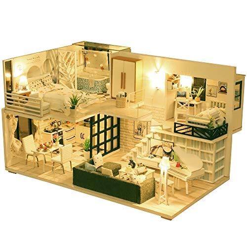 Fsolis Casa de Muñecas en Miniatura de Bricolaje con Mueble, Casa en Miniatura de Madera 3D con Cubierta Antipolvo y Movimiento Musical, Kit de Regalo Creativo de Casas para Muñecas-Happy Time