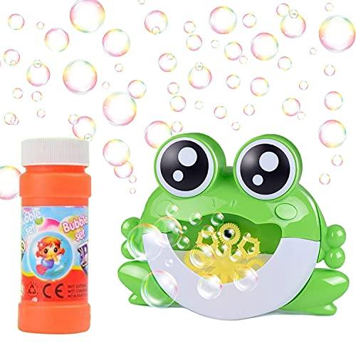 Fuutuu Macchina Bolle con Soluzione Macchina Automatica Portatile Bolle di Sapone Bambini Giochi da Esterno per Bagno Giardino Compleanno