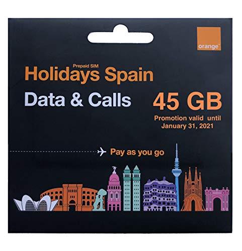 Orange - Tarjeta SIM Prepago Holidays Spain | 45 GB en España | 11 GB en Resto de Europa | Activación Online | Ideal Segunda Línea | Número Móvil Español