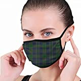 Masque de Bouche, Plaid School Uniform Green Backdrop Mouth Covers, Sanitary Mask, Keep Warm in Cold,...