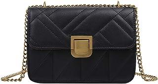 Bolso bandolera de cuero para mujer, bolso clásico clásico con cadena de mensajero con hombro pequeño