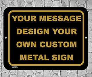 BA IMAGE Personalized Custom Black Antique 015 Aluminum Metal Sign with Your Name! (9x12 Black w/Antique, Horizontal)