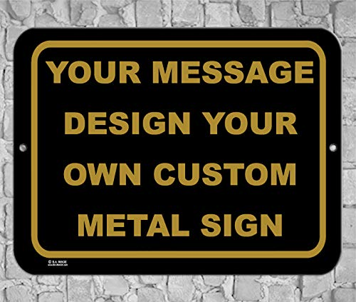 BA IMAGE Personalized Custom Black 015 Aluminum Metal Sign with Your Message! (9x12 Black w/Antique, Horizontal)