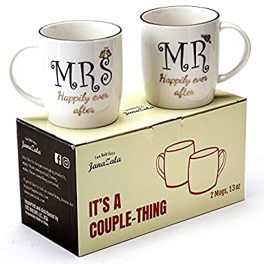Janazala Mr and Mrs Happily Ever After Couples Coffee Mugs, Wedding Anniversary Engagement Gifts For Him Her, Bride Groom, Husband Wife, His Hers Anniversary Present, Parents, Couple, 13 oz