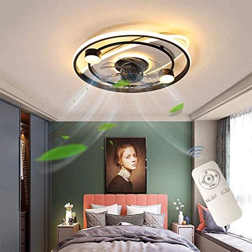 ZBYL Ventiladores para el Techo con lámpara, LED Regulable Lámpara de Techo con Control Remoto, Plafon de Techo Ultra Silencioso, Iluminación de Interior para Dormitorio Sala de Estar, Negro, Ø50cm