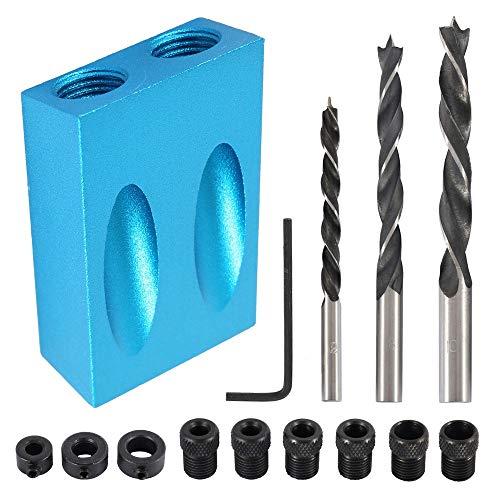 14 pezzi Dima per Fori a Tasca con Punte di Trapano Foro 15° Posizionatore Carpentieri Tascabile Jig Set per Angolo di Lavorazione del Legno (Blu)