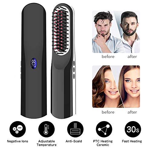 Alisador de Barba, Cepillo Alisador de Pelo con Inalámbrico/Anti Escaldadura/Apagado Automático/Temperatura Ajustable/Tamaño Mini para Viaje/Casa