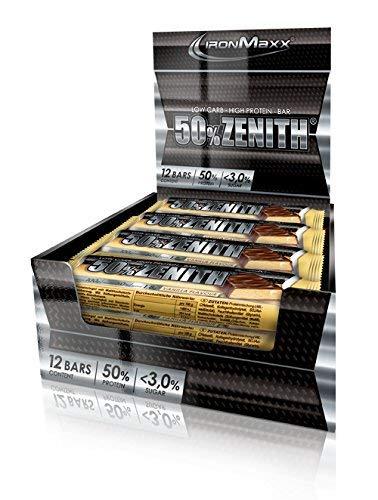 IronMaxx Zenith Riegel – Low Carb Eiweißriegel mit 50% Eiweiß, minimalen 3% Kohlenhydraten und nur 1,5g Zucker pro Riegel – Gewichtsreduzierung, Kraft- und Muskelaufbau – 12x100g – Vanille