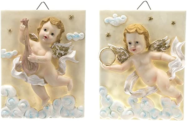 Mega Crafts Religious Wall D Cor Angel Figurines Plaque Set Of 2 Poly Resin Construction Hang Or Wall Mount Via The Hanging Loop For Praying Home D Cor Housewarming Gift Meditation More