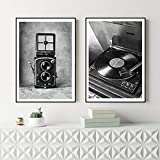MYSY Vintage Kamera Poster Home Leinwand Schwarz Weiß