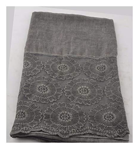 ZXXWJ Farbe Aushöhlen Stickerei Lace Schal Mode Aus Weicher Baumwolle Schal Schal Muslimischen Hijabs Schal Unabhängigkeit, Grau