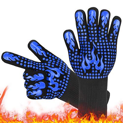 Grillhandschuhe,Ofenhandschuhe Hitzebeständig Grillhandschuh 800 Grad Feuerfeste Langarm BBQ Handschuhe Backhandschuhe Kaminhandschuh Silikonisolierte Handschuhe zum Backen, Grillen, Kochen-Blau