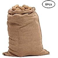 Tebery Sacos Grandes de Yute 100% Natural - Pack 6 Bolsas Ecológicas. Organizador Rústico, 100 x 61 cm