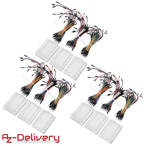 AZDelivery 3 x Breadboard Kit - 3 x 65Stk. Jumper Wire Kabel M2M und 3 x Mini Breadboard 400 Pins für Arduino, Raspberry Pi