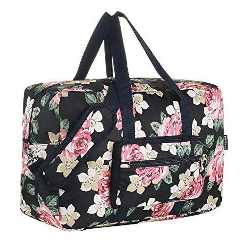 Foldable Duffel Bag for Travel Luggage Flight Lady Girls Cute Carry On Weekend Tote Bag(Rose Flower)