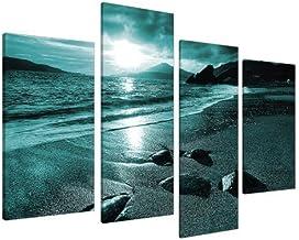 Large Teal Coloured Beach Landscape Canvas Wall Art Pictures - Set of 4 Prints - Big Modern Coastal Artwork - Split Multi ...