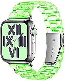 Transparent Lightweight Watch Band with Stainless Steel Buckle - Resin Clear Strap For Apple Watch 42/44 mm Series 6/5/4/...