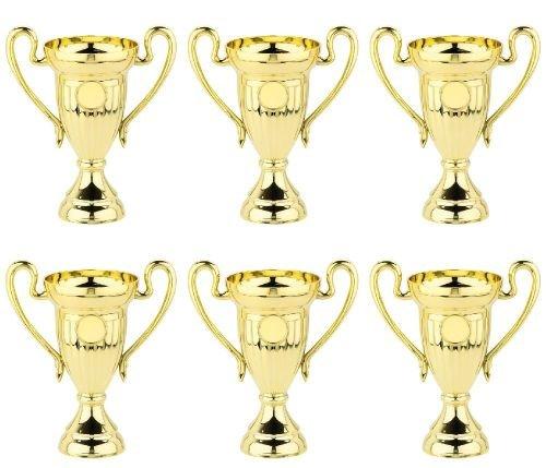 RaRu 6 Stück Kinder-Bowling-Pokale 10cm (Mini) + 3 Bowling-Anstecknadeln (Sticker)