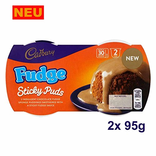 Cadbury Fudge Sticky Puds 2x 95g (190g) - Traditioneller englischer Sponge Pudding (Dessert)