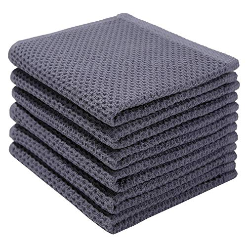 100 Cotton Kitchen Dish Cloths 6 Pack Waffle Weave Ultra Soft Absorbent Dish Towels for Drying Dishes Quick Drying Kitchen Towels Dish Rags 12 X 12Inch Dark Gray