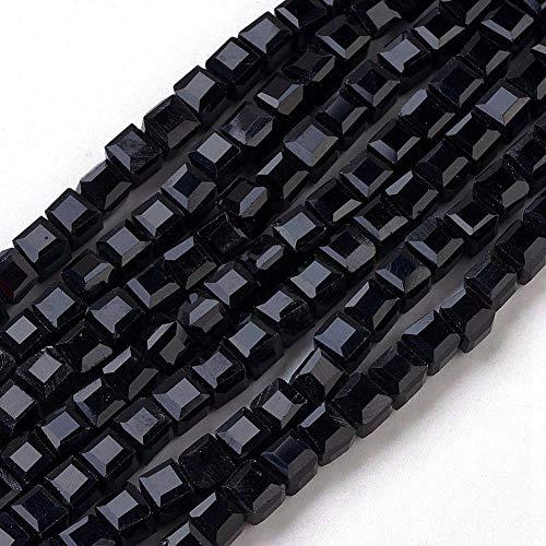Böhmische Kristallperlen 4mm und 6mm Set Würfel Facettiert Tschechische Perlen Glasschliffperlen Zwischenperlen, Glasperlen Druckperlen, Farbauswahl (Schwarz, 6x6x6 mm 20 Stück)