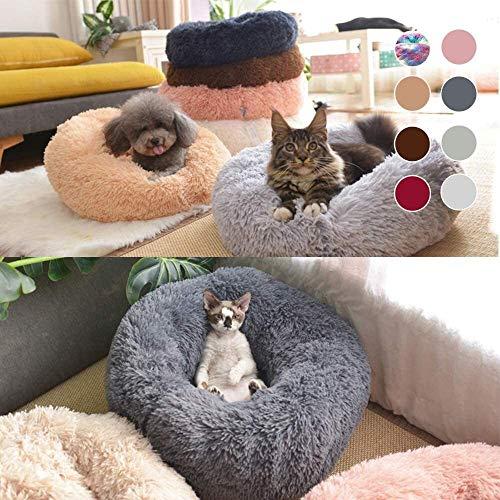BHSHOP Cama for Gatos y Perros Pequeña Mediana Cuddler con Suave Ronda cojín o un óvalo Dona anidamiento Cueva Cama del Gato del Animal doméstico Cama for Gatos y Perros pequeños, M-19.7' x 7.