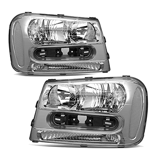 JSBOYAT Headlight Assembly Replacement for 2002-2009 Chevy Trailblazer Passenger and Driver Side