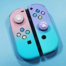 Topsolid NS Switch Joycon Replacement ABXY Direction Keys w/ Cat Claw Design Thumb Grip Caps, Pink Purple Soft Silicone Cover Joystick Cap for Nintendo Switch & Lite, JoyCon Shell & Tools NOT Included