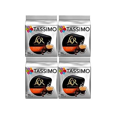 Tassimo T Discs L'OR Espresso Delizioso (4 Packs, 64 T Discs/pods), 64 Servings