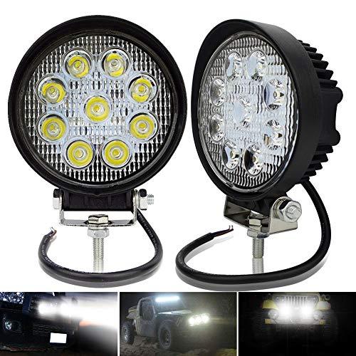 Safego Pack de 2 Faros de luz led Impermeables de 27 W, 12 V, 24 V para camión, 4x4, vehículo Todoterreno, Tractor, etc