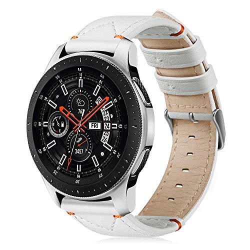 Fintie, armband voor Samsung Galaxy Watch, 46 mm, Gear S3 Frontier/Gear S3 Classic SmartWatch, premium horlogeband van echt leer, vintage, reserveband met roestvrijstalen gesp