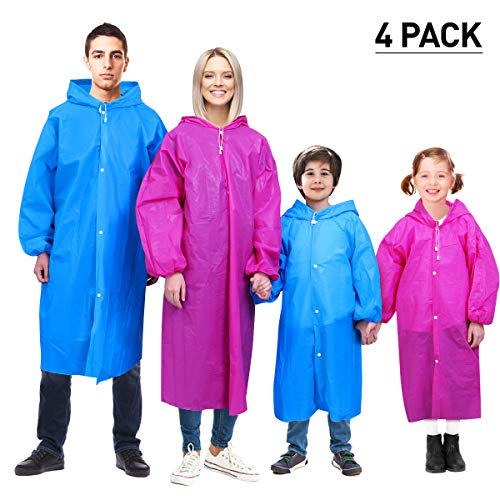 Juvale 12 Pack Kids Rain Ponchos for Boys 4 Color Red, Light Blue, Orange, Yellow * for Boys no Pink Disposable Emergency Poncho 4 Color Red, Light Blue, Orange, Yellow
