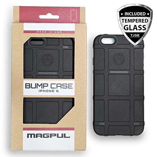 Case for iPhone 6/iPhone 6s, with TJS [Tempered Glass Screen Protector] Magpul Industries Bump MAG486-BLK Polymer Cover Retail Packaging Compatible Apple iPhone 6/iPhone 6s 4.7' (Black)