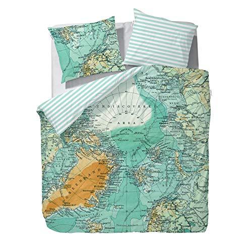 Covers Co Bettwäsche North Pole Bunt Nordpol Ozean Weltkarte Atlas Landkarte Fjord Baumwolle, Größe:135 cm x 200 cm