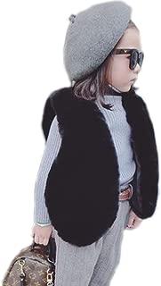 Baby Fur Vest Child Furry Vest Faux Fur Gilet in Spring Autumn and Winter (White, 140cm)