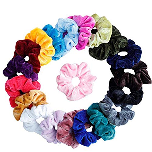 Asatr 20 Pcs Women Girls Velvet Elastic Scrunchies Ponytail Holder Hair Accessories Elastics & Ties