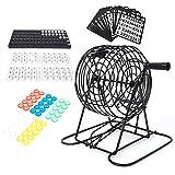 Duokon Juego de Bingo keenso, Juego de Bingo con Jaula de Bingo Tablero de Bingo Bolas de Bingo Cartones de Bingo y fichas de Bingo