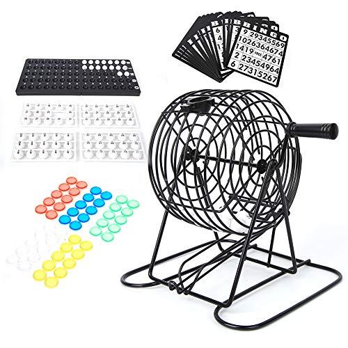 Duokon Keenso Bingo Spiel, Bingo Spiel Set mit Bingo Käfig Bingo Brett Bingo Bälle Bingokarten und Bingo Chips