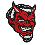 Cute-Patch 10' Jumbo Red Devil Satan Lucifer Motorcycle MC Embroidered Iron On Sew On Patch for Biker Vest