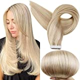Full Shine Tape in Hair Extensions Premium Quality Invisible Silky Straight Hair 20 Inch Remy Human Hair Tape ins 50 Gram Per Package Color 16 Highlighted 22 Blonde