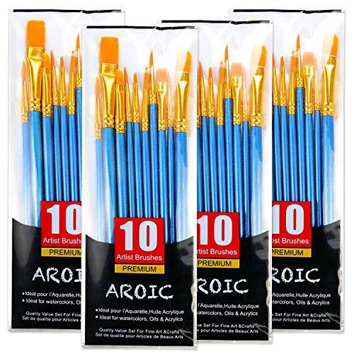 Acryl-Pinsel-Set, 4 Packungen / 40 Stück, Nylonhaarbürsten für alle Zwecke, Öl-, Aquarellmalerei, Künstler, professionelle Kits
