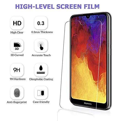 Ferilinso Schutzfolie Kompatibel mit Huawei Y6 2019 / Huawei Y6 Pro 2019 / Honor 8A, [3 Pack] Panzerglas Schutzfilm aus gehärtetem Glas (Transparent) - 3