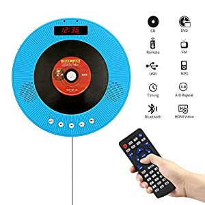 Portable CD/DVD Player with Bluetooth,Wall Mountable Personal Compact Disc Player with Built-in HiFi Speakers/LED Display/FM Radio/Remote Control/AUX Input Output (Blue)