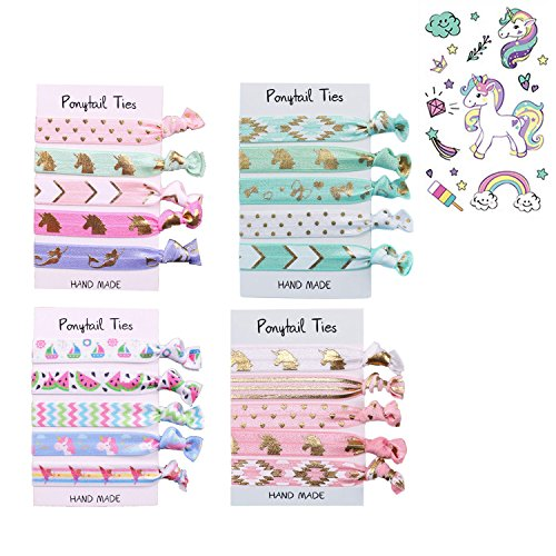 Oexper Unicorn Hair Ties Elastic Ponytail Holders No Crease Hair Styling Accessories for Girls Women Kids Children Adults (5 x 4 Pack/20 Hair Ties) with 1 Sheet Unicorn Temporary Tattoos
