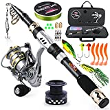 Sougayilang Telescopic Fishing Pole with Spinning Reel Portable Fishing Rod Reel Combos -1.8M/5.89Ft