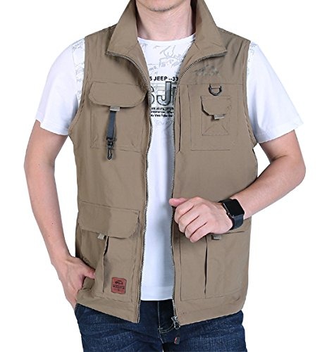 Gihuo Men's Casual Outdoor Stand Collar Lightweight Quick Dry Travel Softshell Vest Outwear (Khaki#2, Medium)