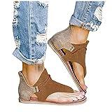 JHLIA Women's Posh Gladiator Sandals,Mujeres Sandalias Planas Sandalias Casuales Zapatos de Verano Mujeres Peep Toe Casual Encaje up impresión Sandalias Planas con Cremallera Trasera