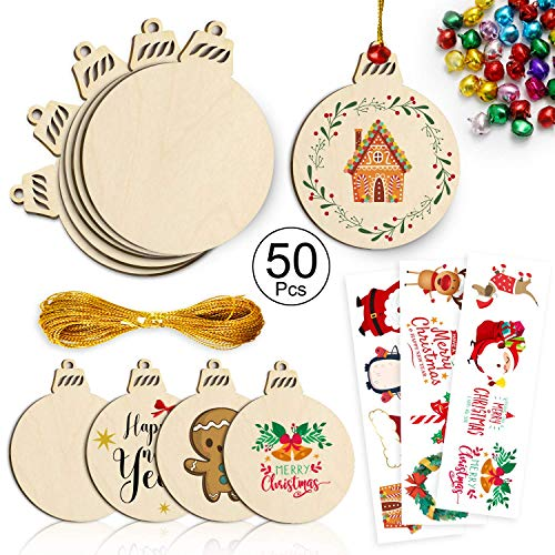 100+ Christmas Ornaments 50Pcs Unfinished Wooden Slices with 50 Bells 3 Sheet Sticers and 65.6ft Cords, Easy to Paint, Stain, Embellish for Art and Craft Projects-Round